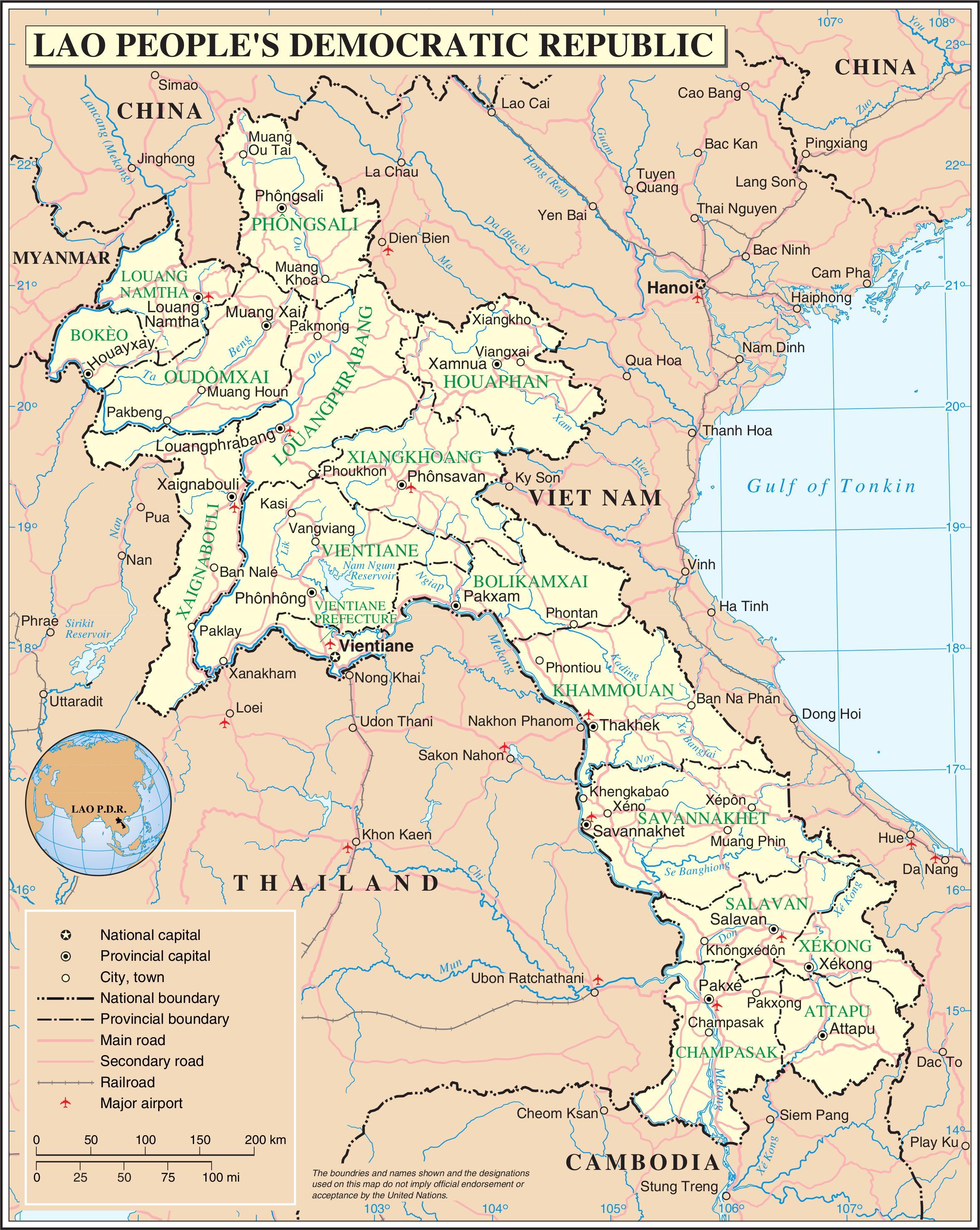 Laos Harta Rutiera Harta Laos Drum Asia De Sud Est Asia